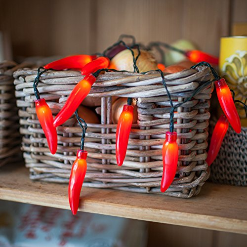 20 Red Chili Pepper Battery Operated LED Kitchen String -