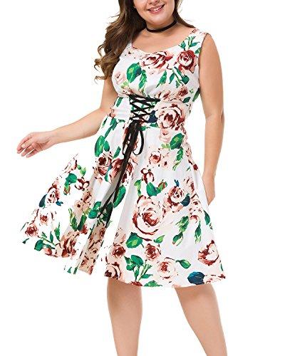 Womens Plus Size Vintage Floral Print Surplice V Neck 3/4 Sleeve Cocktail Swing Dress