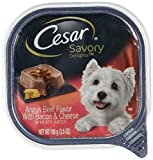 Cesar SAVORY DELIGHTS Wet Dog Food Angus Beef Flavor with Cheese & Bacon, (Pack of 24) 3.5 oz. Trays