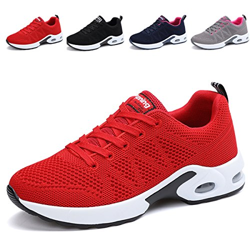 JARLIF Women's Breathable Fashion Walking Sneakers Lightweight Athletic Tennis Running Shoes (5.5 B(M), Red)