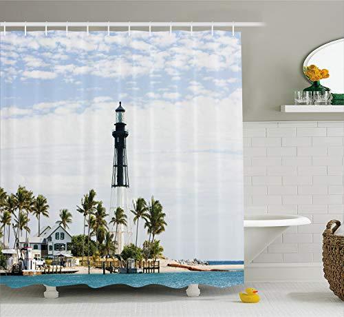 - Ambesonne United States Shower Curtain, Hillsboro Lighthouse Pompano Beach Florida Atlantic Ocean Palms Coast, Cloth Fabric Bathroom Decor Set with Hooks, 75