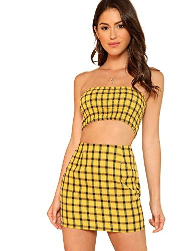 Cinched Bandeau Top - Floerns Women's Strapless Bandeau Tube Tops Skirt Two Pieces Outfit Multi S