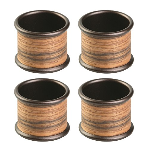InterDesign RealWood Napkin Rings for Home, Kitchen, Dining Room - Set of 4, Bronze/Rosewood Finish