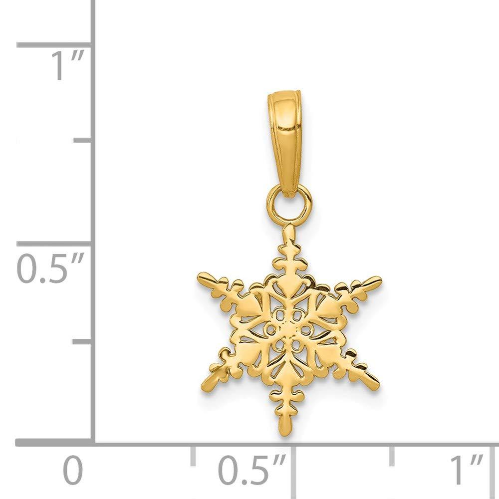 14k Yellow Gold Small Snowflake Pendant