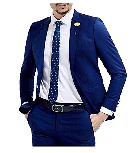 Botong Slim Fit Royal Blue Wedding Suits 2 Pieces Men Suits Groom Tuxedos Royal Blue 40 chest / 34 waist (Chest Waist)