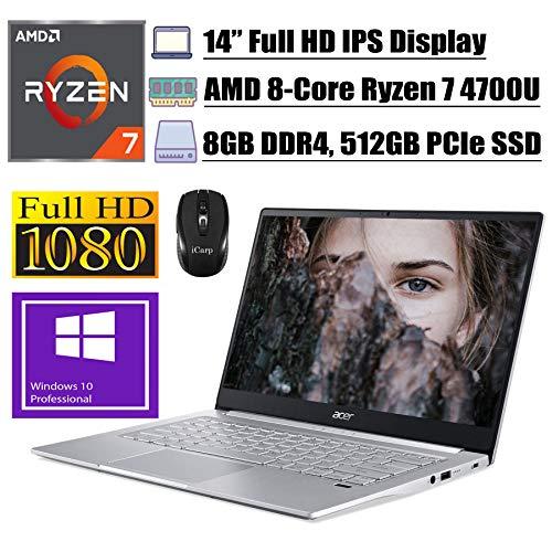 "2020 Flagship Acer Swift 3 Thin & Light Business Laptop, 14"" FHD IPS, AMD 8-Core Ryzen 7 4700U(Beats i7-10510U), 8GB DDR4 512GB PCIe SSD, Fingerprint Backlit USB-C Win 10 Pro + iCarp Wireless Mouse"