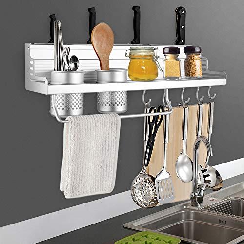 Holder Kitchen - Kitchen Aluminum Pantry Cookware Spice Dinnerware Kitchenware Shelf Storage Utensils Cutlery Rack Holder Organizer with Hooks ()