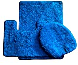5 Piece Bathroom Rug Sets Royal Plush Collection 3-Piece Bathroom Rug Set, Bath Mat, Contour and Toilet Cover (Standard Round Size Toilet) - Royal Blue