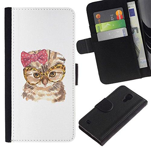 EuroCase - Samsung Galaxy S4 IV I9500 - cat funny glasses bow pink owl art - Cuero PU Delgado caso cubierta Shell Armor Funda Case Cover