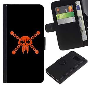 KLONGSHOP / Tirón de la caja Cartera de cuero con ranuras para tarjetas - Skull Head Pirate Mask Vampire Teeth Orange - Samsung Galaxy S6 SM-G920