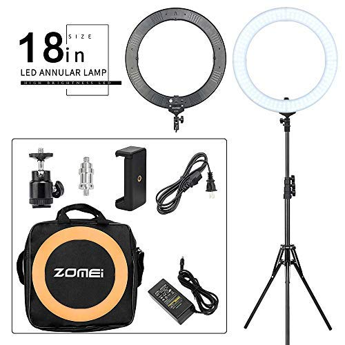 ZOMEI 18-inch LED Dimmable Ring Light with Stand, Warm Color Filter for Studio Photography,Beauty Make Up, Live Stream ,YouTube Video ,Compatible with Smartphone and Camera