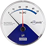 """WIKA 50676997 Differential Low Pressure Gauge,  Wetted Parts, 4-1/2"""" Dial, 0-50"""" WC Range, +/-3% Accuracy, 2"""" x 1/8"""" Hose Barb Connection, Back Mount"""
