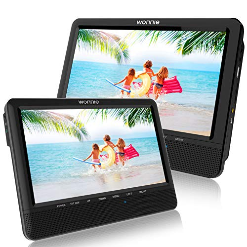 WONNIE 9.5 Car Dual Portable DVD Players, 1024x800 HD LCD TFT, USB/SD/MMC Card Readers, Built-in 5 Hours Rechargeable Battery, Stereo Sound, Regions Free, AV Out & in (Portable Player Car Dvd)