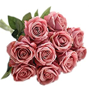 cn-Knight Artificial Flower 12pcs 22'' Long Stem Silk Velvet Rose Real Touch Faux Flower for Wedding Bridal Bouquet Bridesmaid Home Decor Office Hotel Baby Shower Party Prom Centerpiece(Rose Smoke) 44