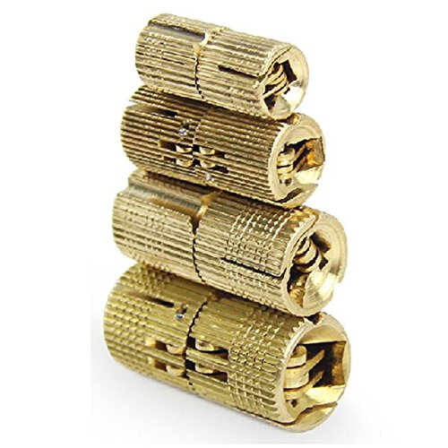 Gaoominy 4 piezas de 10 mm de cobre bisagras de barril cilindrico oculto gabinete encubierto invisible bisagras de laton para muebles de hardware
