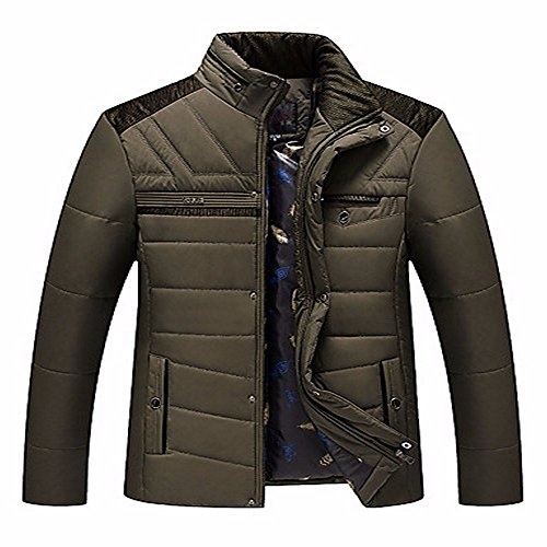 ZHUDJ Men's Regular Padded Coat,Simple Plus Size Casual/Daily Solid-Rayon Polyester polypropylene Long Sleeves Army Green