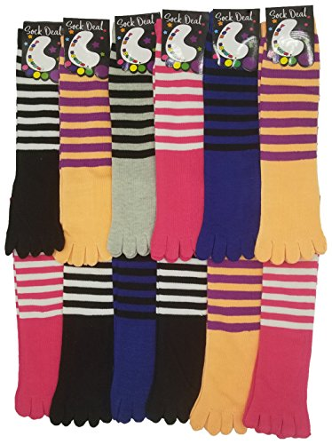 (Colorful Toe Socks, 12 Pairs Womens or Girls, Assorted Stripe Patterns, Cute Fun Stylish (Womens Assorted Striped, Womens (9-11)) )