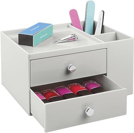 mDesign Caja organizadora con dos cajones – Fantástico organizador de cosméticos apilable – Cajonera para armario de baño o tocador – Gris claro: Amazon.es: Juguetes y juegos