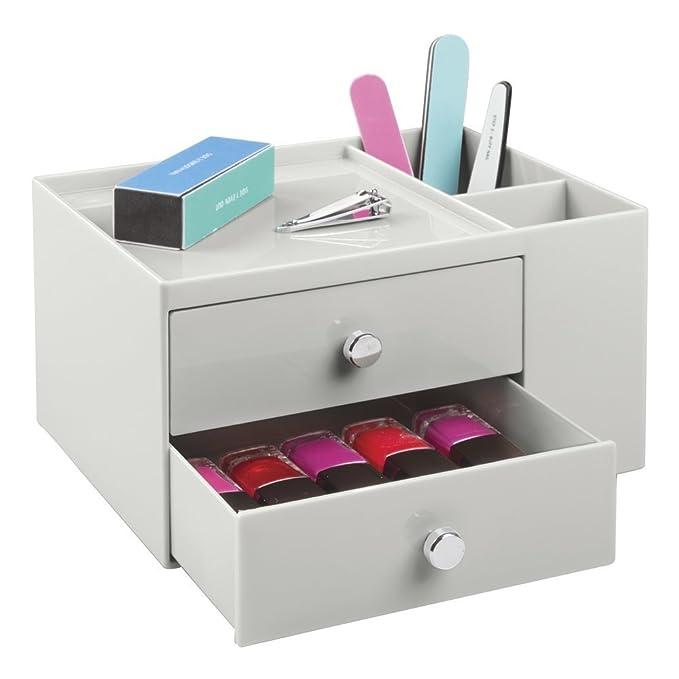 Caja organizadora para material de oficina con 2 cajones y 2 compartimentos laterales Pr/áctico organizador de material de escritorio mDesign Organizador de escritorio Gris claro