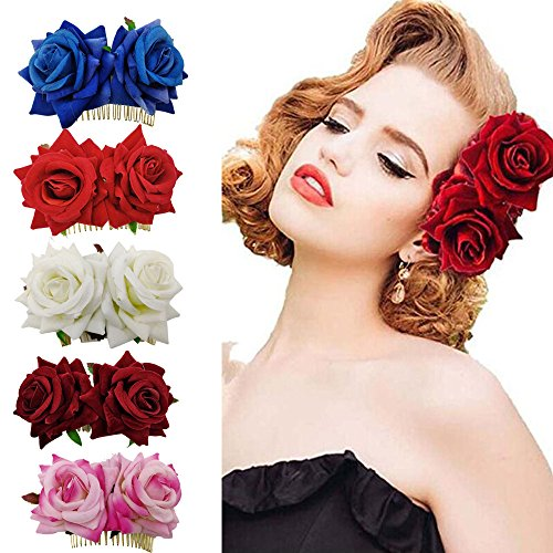 DINPREY Women's 2 xRose Flower Hair Clip Slide Flamenco Dancer Pin Flower Brooch Lady Flowers Hair Claw Accessories (5 Colors Pack A) (Claw Brooch)