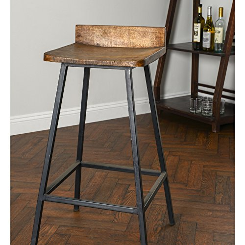 Modern Industrial Handcrafted Mango Wood Counter Stool with Low Back and Black Iron Legs - Includes Modhaus Living Pen