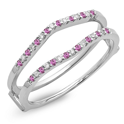 Dazzlingrock Collection 10K Round Pink Sapphire Ladies Anniversary Wedding Enhancer Guard Double Ring, White Gold, Size 4.5