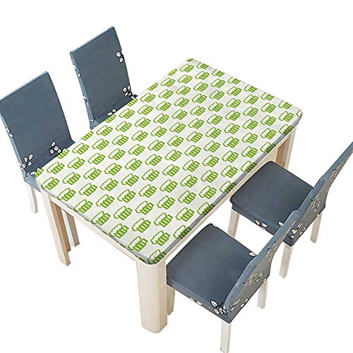 PINAFORE Polyesters Tablecloth Green Holiday Theme with Foamy Beer Glasses Celebration Fun Doodle Design Wedding Birthday Baby Shower Party W65 x L104 INCH (Elastic Edge) (Beer Vegas Wedding Party)