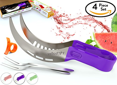 WATERMELON SLICER CORER CUTTER TONGS and SERVER SET With SS304 Serving Fork & Orange Peeler, Kitchen-Grade 304 Stainless Steel, Ergonomic Handle, Watermelon Knife, Purple, by Vellostar