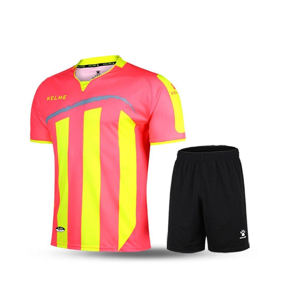 Kelme半袖サッカースポーツストライプUniform B01ELABO3Q Large|ピンク/イエロー ピンク/イエロー Large