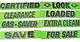 Vinyl Windshield Slogan Stickers 8 Dozen Pack Bundle Dealer Lot Chartreuse Flourescent Green Set