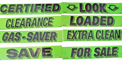 Vinyl Windshield Slogan Car Window Sale Stickers 8 Dozen Pack Bundle Dealer Lot Chartreuse Flourescent Green Sticker Set