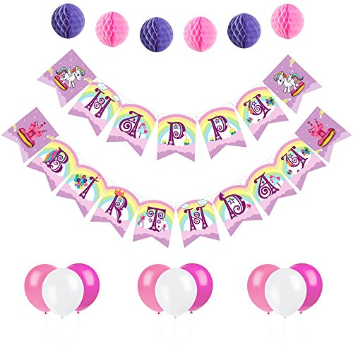 Unicorn Happy Birthday Banner - Magical Party Supplies, Colorful Rainbow Pennant with Letters - Party Decorations with 6 Pom Pom Balls and 12 Balloons - Premium Quality, Ideal for Unicorn Parties (Birthday Stars Personalized Banner)
