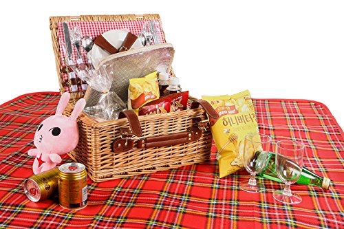 Woworld Insulated Picnic Basket Deluxe Wicker Picnic Basket Set Hamper for 2 with Cutlery,Plates,Wine Glasses,Picnic Blanket White and Red Liner (2 person,White/Red Plaid) (Basket Wine Picnic Wicker)