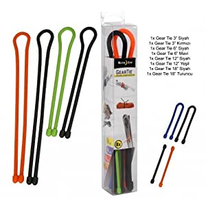 Nite Ize GTBA-A2-R8 Original Gear Tie, Reusable Rubber Twist Tie, Made in The USA, Assortment, 8 Pack