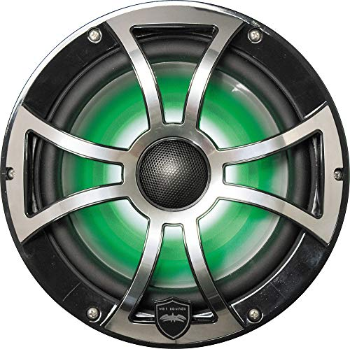 Wet Sounds REVO 8-XSB-SS Black XS/Stainless Overlay Grill 8 Inch Marine LED Coaxial Speakers (Pair)
