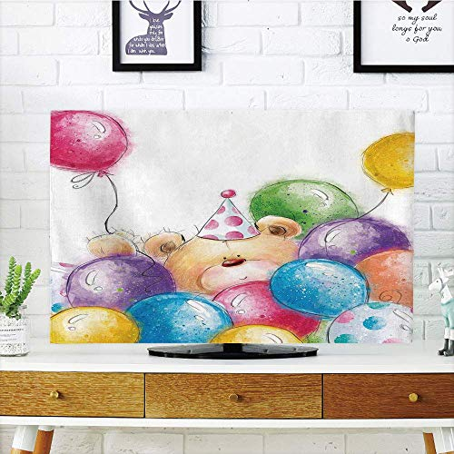 yuqiang LCD TV dust Cover Customizable,Birthday Decorations Compatible Kids,Hand Drawn Childish Design Teddy Bear and Colorful Balloons,Multicolor,Graph Customization Design Compatible 32