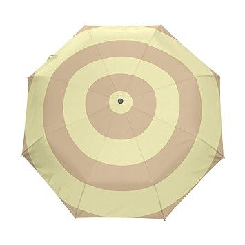Bennigiry - Paraguas de 3 Pliegues, Color marrón, Amarillo, con Anillos concentrados,