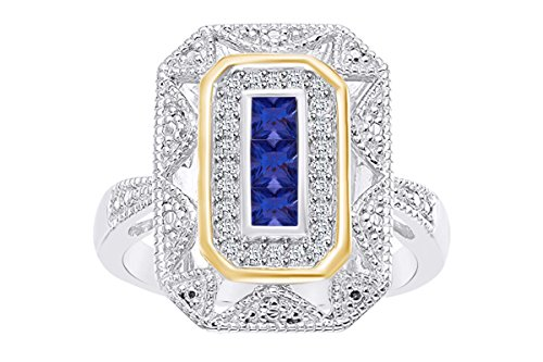 (Christmas Sale White Gold Over Sterling Silver Simulated Blue Sapphire & Diamond Accent Art Deco-Style Ring (1/10 cttw, I-J Color, I3 Clarity) Ring Size-7)