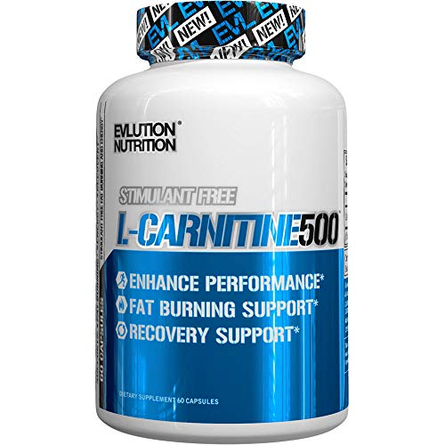 Evlution Nutrition L-Carnitine500, 500 mg of Pure L Carnitine in Each Serving, Stimulant-Free, Capsules (60 Servings)