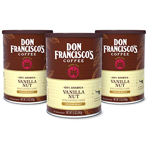 Don Francisco's Vanilla Nut Flavored Ground Coffee, 100% Arabica (3 x12 Ounce Cans) All Natural Flavored Biscotti