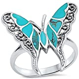 Filigree Style Turquoise Butterfly .925 Sterling Silver Ring Sizes 8