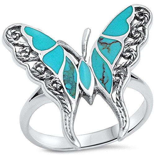 Oxford Diamond Co Filigree Style Turquoise Butterfly .925 Sterling Silver Ring Sizes 8 ()