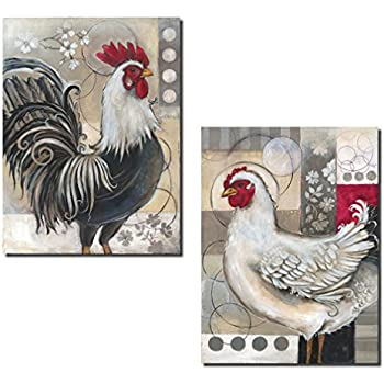 Gango editions 2 popular retro rooster and chicken set kitchen decor two 12x16in poster