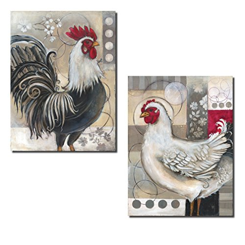 2 Popular Retro Rooster and Chicken Set; Kitchen Decor; Two 12x16in Poster Prints. Red/Black/White/Grey (Black And White Rooster Decor)
