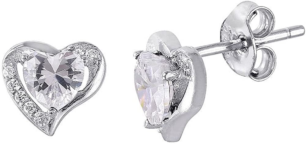 Cubic Zirconia Birthstones Heart Earrings Rhodium Plated Sterling Silver (Comes In Deferent Colors)