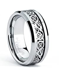 Metal Masters Co.® Tungsten Carbide Men's Ring with Dragon Design Inlay Sizes 7 to 13
