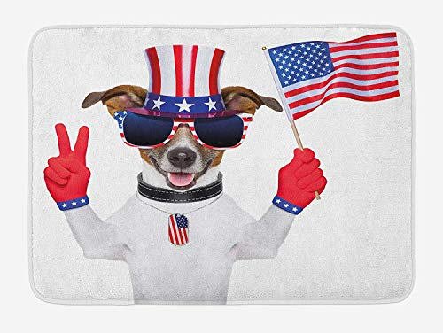 - 4th of July Bath Mat, Funny Pet Dog with an Uncle Sam Hat Holding a Peace Sign and an American Flag, Plush Bathroom Decor Mat with Non Slip Backing, 23.6 L X 15.7 W Inches, Multicolor