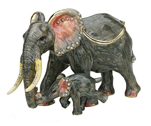 Sparkling Collectibles Pewter Mother Baby Elephant Figurine Box - Swarovski Crystals, Jewelry, Keepsake, Pill Holder