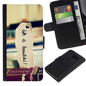 LASTONE PHONE CASE / Lujo Billetera de Cuero Caso del tirón Titular de la tarjeta Flip Carcasa Funda para Samsung Galaxy S6 SM-G920 / Books Travel Beautiful Life Vignette