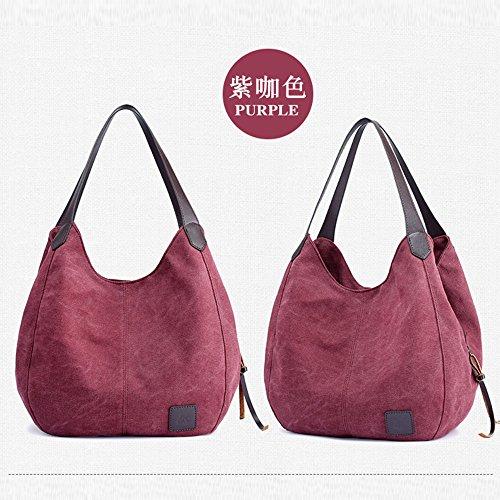 Canvas Shoulder Pocket Tote Handbags Multi Clearance Purple ZOMUSA Casual Shopping Single Bag Women's Sale Bags Messenger FycypAHqg